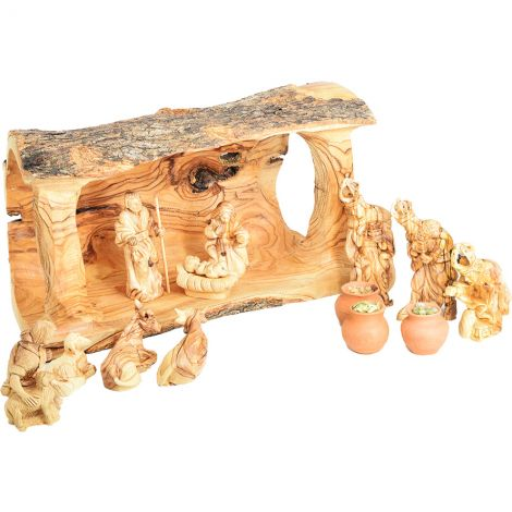 Olive Wood Log Nativity Set + Gifts of the Wise Men in Clay Pots