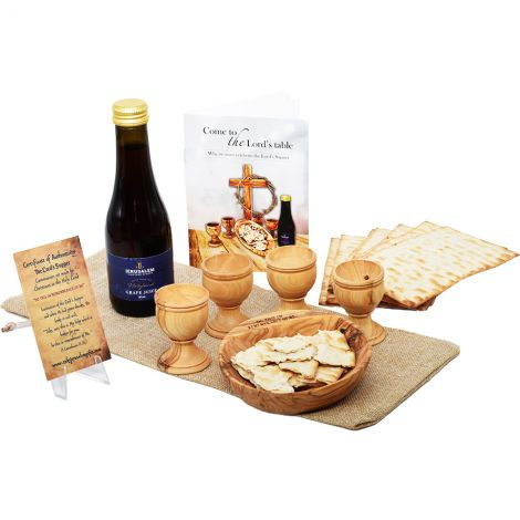 Complete Olive Wood LORD's Supper Set with Grape Juice and Matzo
