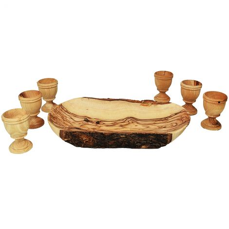 """The Lord's Supper"" set - 6 Stem Cups and Natural Olive Wood Tray"