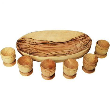"The Lord's Supper - Set of 6 Olive Wood Cups with 6"" Oval Dish"