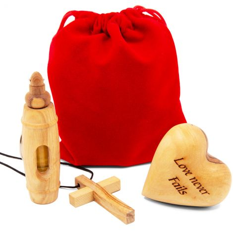'Love Never Fails' Christian Ministry Olive Wood Anointing Gift Set