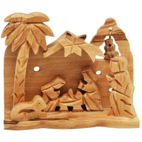 Manger Square Olive Wood Nativity Creche Ornament with a Bell