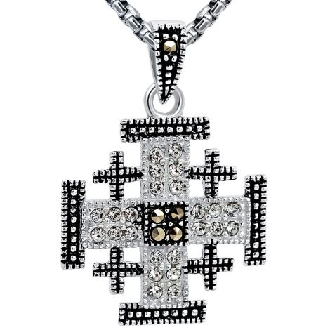 Small 'Jerusalem Cross' Marcasite and Zircon Silver Pendant