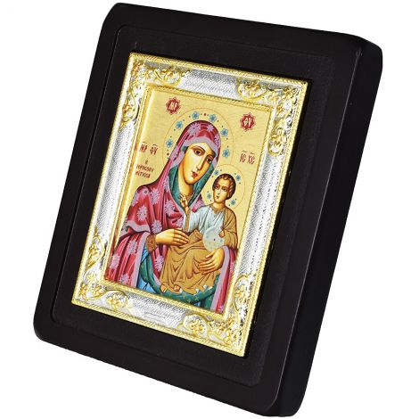The Virgin Mary and Jesus - Replica Byzantine Icon - Silver Plated