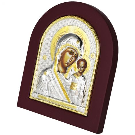 Virgin Mary and Baby Jesus' Icon - Silver and Gold Plated