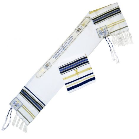 Messianic 'Grafted In' Jewish Prayer Shawl / Talit from Jerusalem - Blue