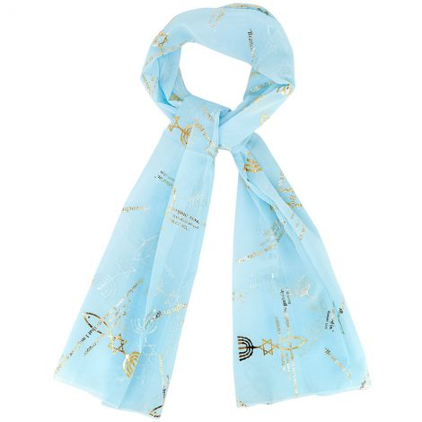 Messianic 'Grafted In' Scripture Scarf from Israel in Hebrew - Pale Blue