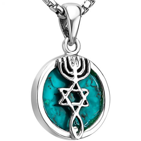 Turquoise 'Grafted In' 925 Silver Messianic Necklace