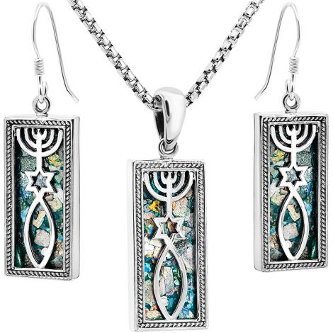 Roman Glass 'Grafted In' Messianic Jewelry Set - Made in Israel
