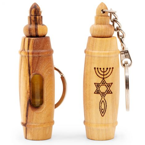 'Messianic' Olive Wood Key-Chain with Anointing Oil - Made in Israel