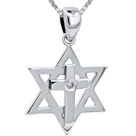 Star of David with Cross' Messianic 14k White Gold Diamond Pendant