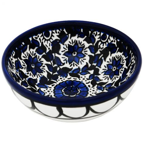 Mini Armenian Ceramic Bowl - Blue Flowers - from Jerusalem