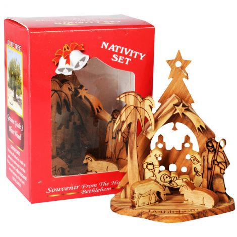 """Olive Wood Christmas Tree Nativity Ornament in Gift Box - 3"""""""