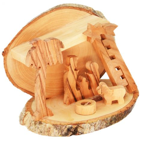 Christmas Nativity Manger Ornament with Bark - 4 inch