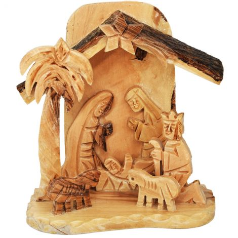 Nativity Creche Natural Olive Wood Ornament from the Holy Land
