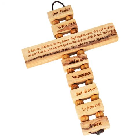 'The Lord's Prayer' Cross - Scripture Cross made from Olive Wood
