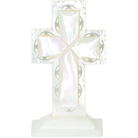 """Mother of Pearl Cross - Free Standing with Lacey edge - 2.5"""""""