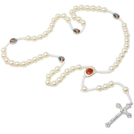 Pearly White Rosary Beads with 'Virgin Mary' Icon