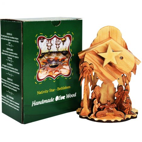 "Olive Wood Musical Nativity Creche Set from Bethlehem - 6.5"" (boxed)"