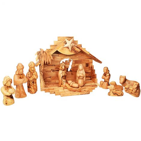 Christmas Olive Wood Nativity - Musical - 13 inch Faceless