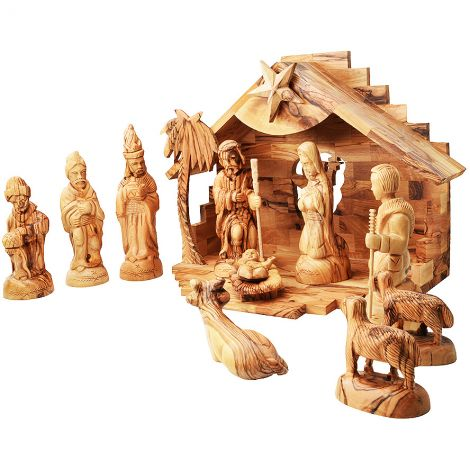 Musical Olive Wood Nativity Creche - Christmas Story - 12.5 inch