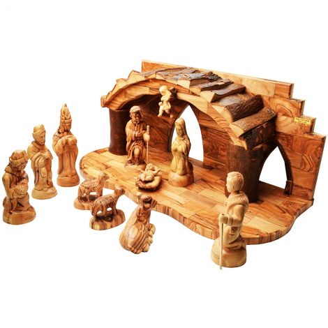 Christmas Hand Carved Olive Wood Nativity Scene with Bark Roof