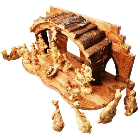 "Deluxe Nativity Creche Set with Bark Roof from Bethlehem - 19"" (Top view)"