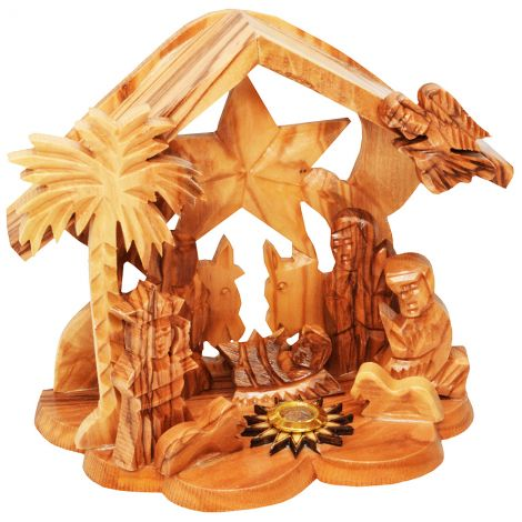 Star of Bethlehem Nativity Creche - Olive Wood Manger Scene Holy Land