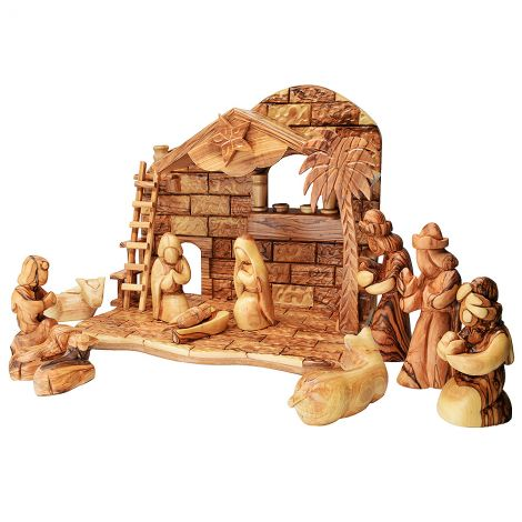 Musical 'Faceless' Nativity from Olive Wood - Made in Bethlehem