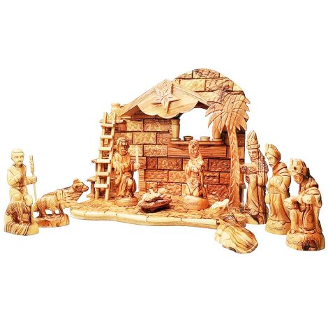 Christmas Creche Nativity from Olive Wood - Made in Bethlehem