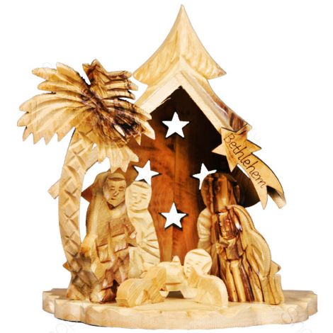 Small Olive Wood Nativity Set with Stars - Holy Land