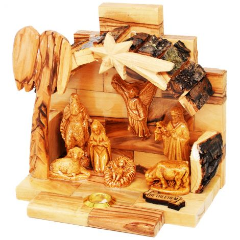 Olive Wood Christmas Nativity Scene with Bark Roof and Incense