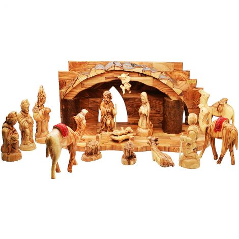 Deluxe Christmas Nativity Set in Olive Wood with Camels - 19""