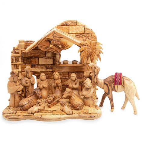 Musical 'Faceless' Nativity Set from Olive Wood with Camel