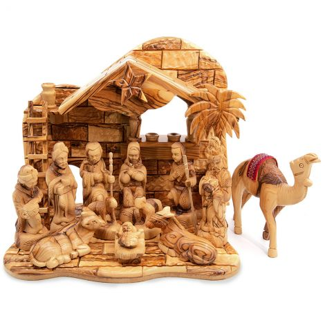 Musical Deluxe Nativity Set from Bethlehem Olive Wood with Camels