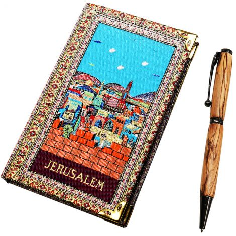 Jerusalem' Notepad and Olive Wood Pen from the Holy Land