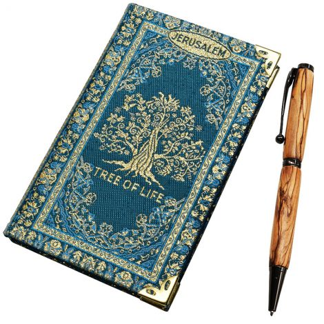 Tree of Life' Notepad and Olive Wood Pen from Jerusalem
