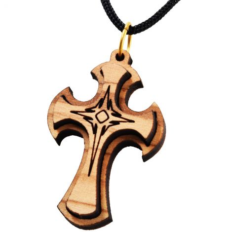 Olive Wood 3D Cross Pendant - Made in the Holy Land