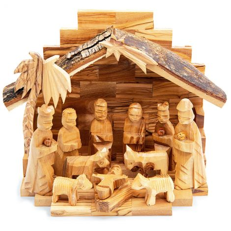 Olive Wood Christmas Nativity Set - 12 Piece - Bark Roof Made in Bethlehem - 9""