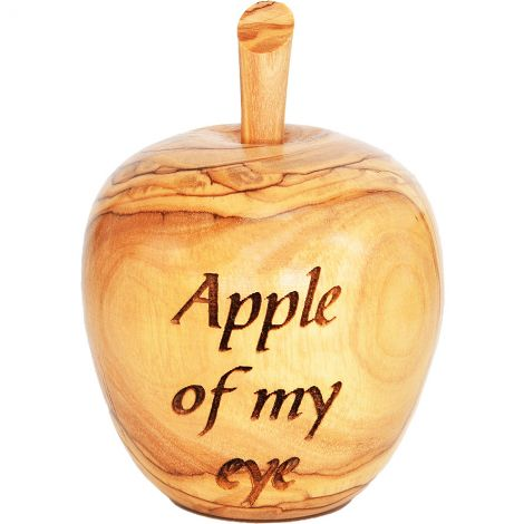 Apple of My Eye' Olive Wood Apple Paperweight Ornament