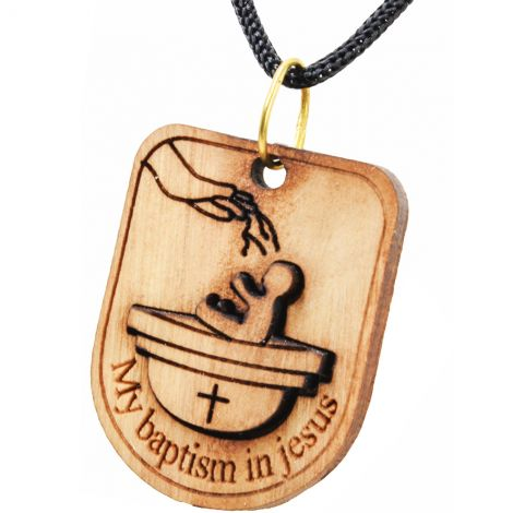 Olive Wood 'Catholic Baby Baptism in Jesus' Necklace made in Bethlehem