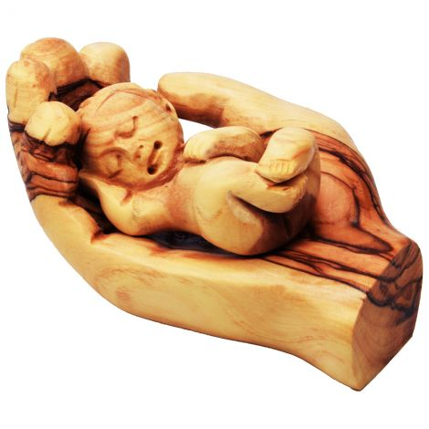 Baby Jesus in the Father's Hand - Olive Wood made in the Holy Land