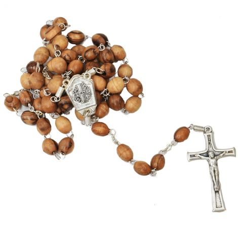 Olive Wood Rosary Beads with Jordan Water a Jerusalem Cross and Crucifix