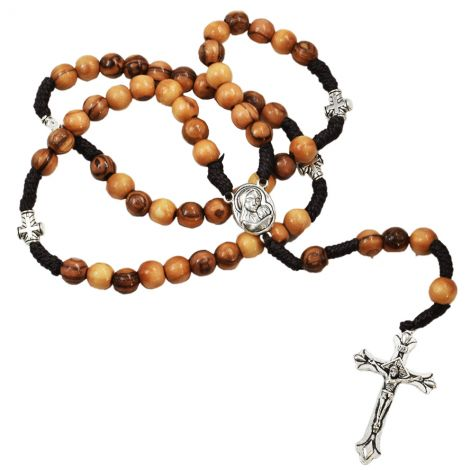 Olive Wood Rosary Beads with Cross Beads and Metal Crucifix