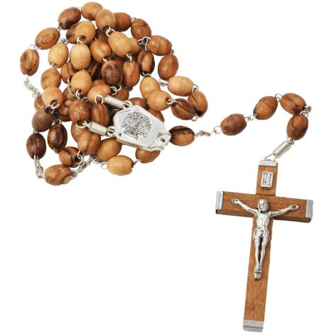 Olive Wood Rosary Beads with 'Jerusalem Cross' and Crucifix