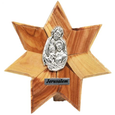 Olive Wood 'Star of Bethlehem' with the 'Holy Family' Plaque