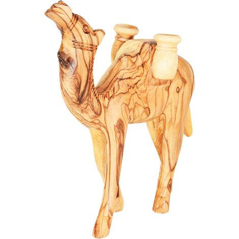 """Olive Wood Camel Carrying Two Pots - Made in Bethlehem - 6"""""""