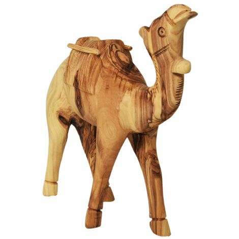 Olive Wood Camel with Carrying Saddle - Made in the Holy Land - 6""