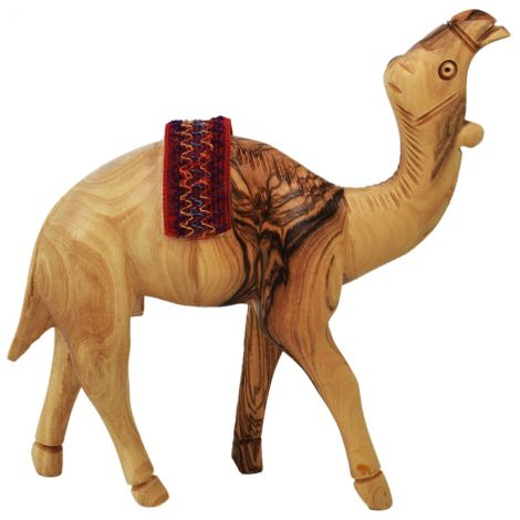"""Olive Wood Camel with Bedouin Saddle - Made in the Holy Land - 6"""""""