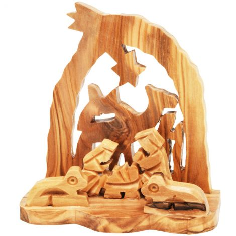 Olive Wood Creche with Camel - Made in Bethlehem